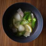 オクラとチーズ白玉のスープ