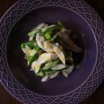 オクラとゆで鶏のマスタードソース
