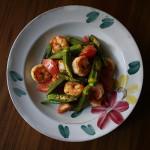 オクラとえびとトマトの炒め物