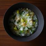 チンゲンサイと枝豆の中華風粥