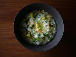 修正 チンゲンサイと枝豆のホタテ粥
